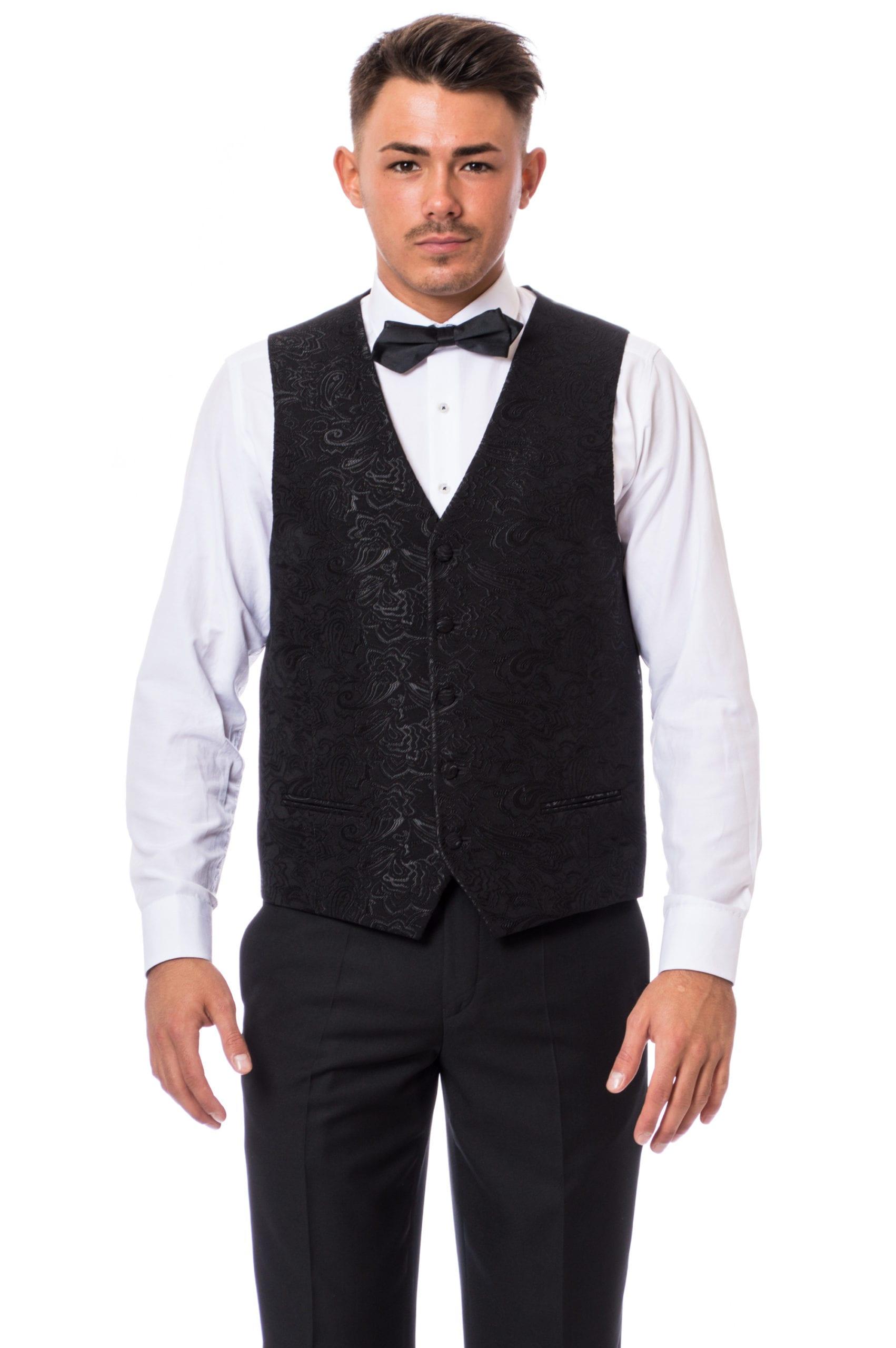 593b8034ea Varese Méretre Készített Három Részes Fekete Slim Fit Esküvői Szmoking