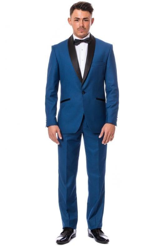 Vigevano Méretre Készített Kék Slim Fit Alkalmi Szmoking