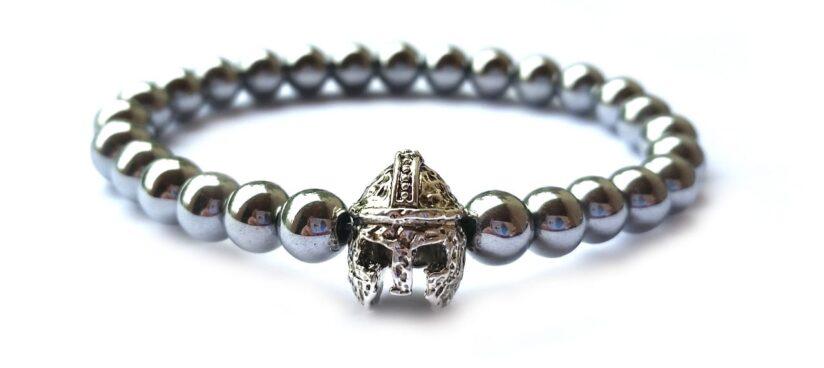 Ezüst színű hematit ezüst színű spártai sisak gyöngy karkötő 6mm