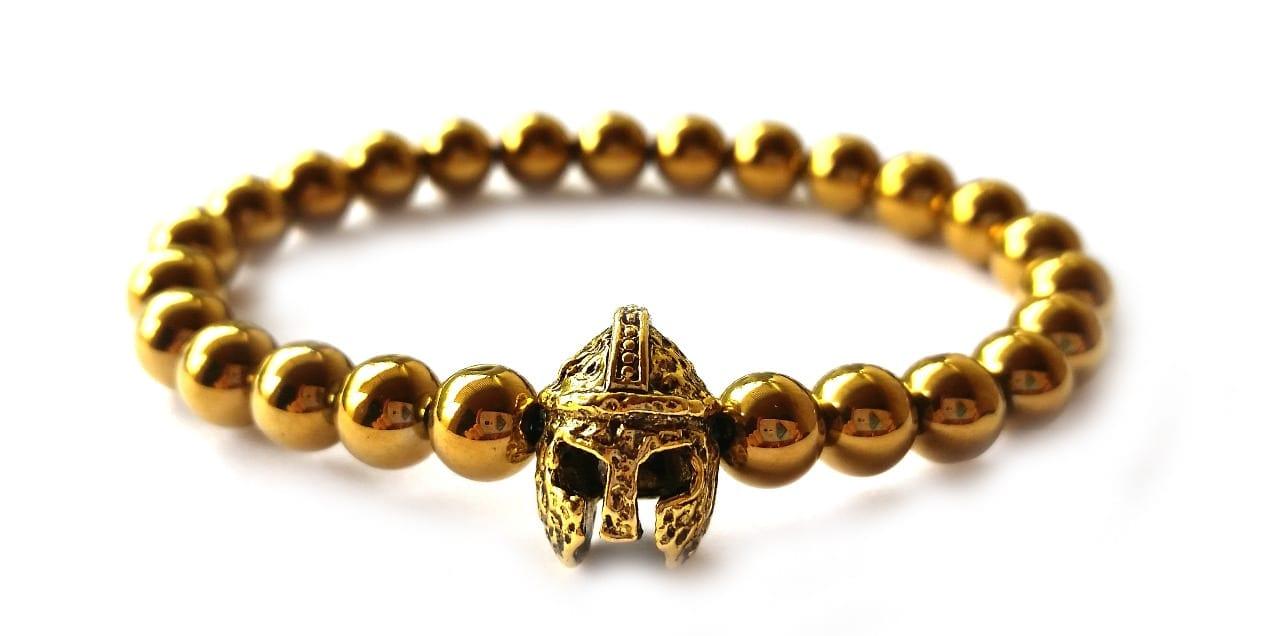 Arany színű hematit arany színű spártai sisak gyöngy karkötő 6mm