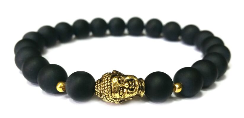 Matt ónix arany színű Buddha gyöngy karkötő 8mm