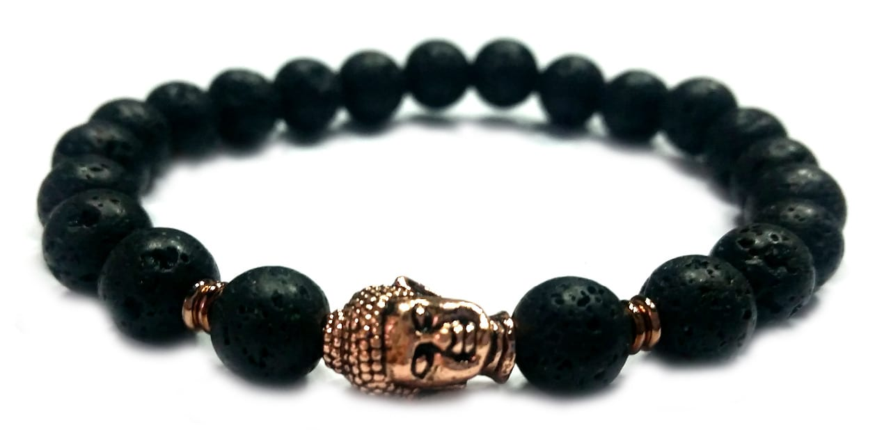 Lávakő rose gold Buddha gyöngy karkötő 8mm
