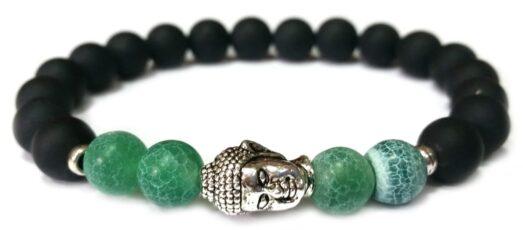 Matt ónix - Sárkány achát Buddha gyöngy karkötő 8mm