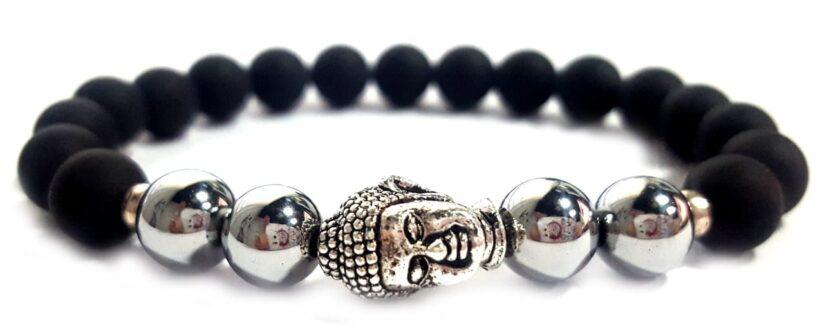 Matt ónix - ezüst Hematit Buddha gyöngy karkötő 8mm
