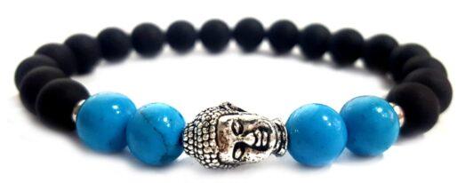 Matt ónix - Türkiz ezüst színű Buddha gyöngy karkötő 8mm