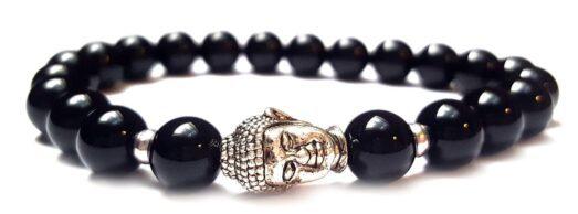 Fényes ónix ezüst színű Buddha gyöngy karkötő 8mm