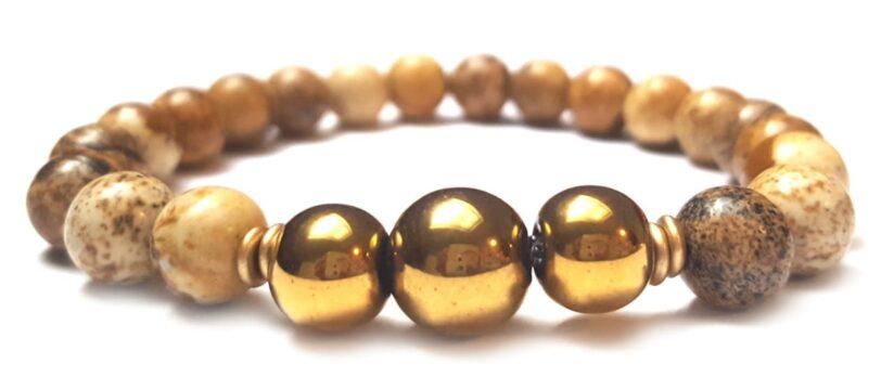 Képjáspis arany színű hematit gyöngy karkötő 8mm
