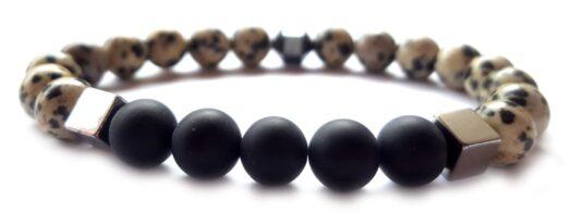 Dalmata jáspis - Matt ónix hematit kockás gyöngy karkötő 8mm