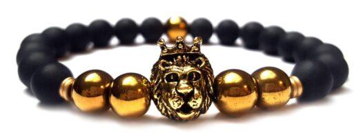 Matt ónix arany hematit koronás oroszlán gyöngy karkötő 8mm