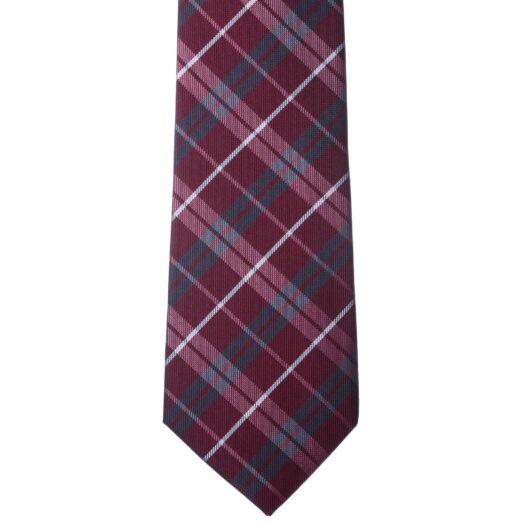 Bordó szürke-fehér kockás nyakkendő