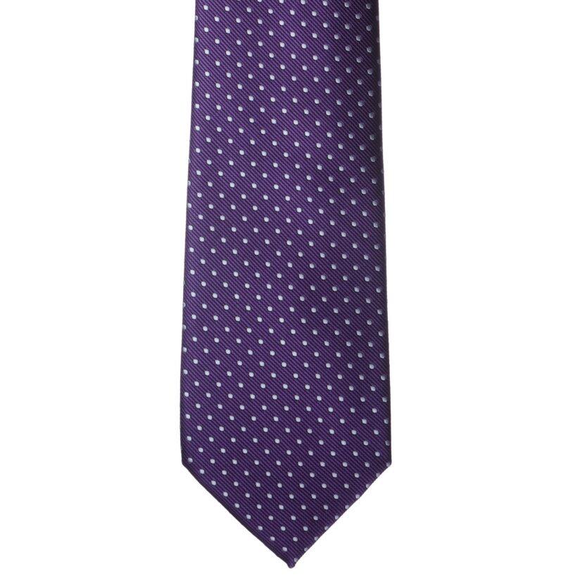 Lila fehér pöttyös nyakkendő