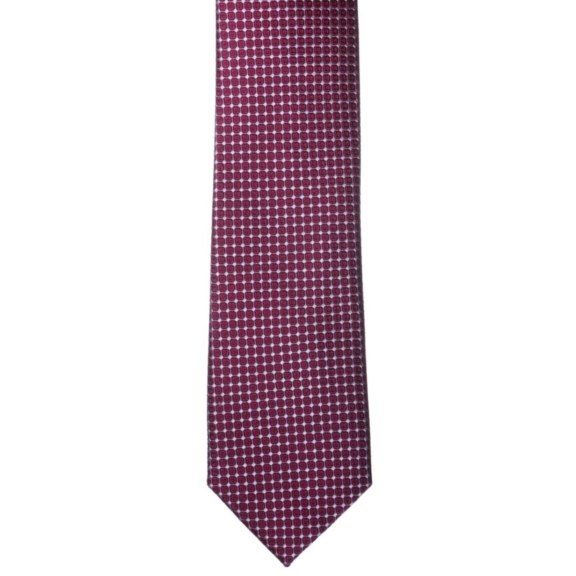 Fehér-bordó mintás nyakkendő