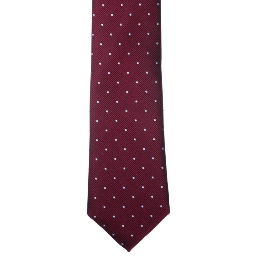 Bordó fehér pöttyös nyakkendő
