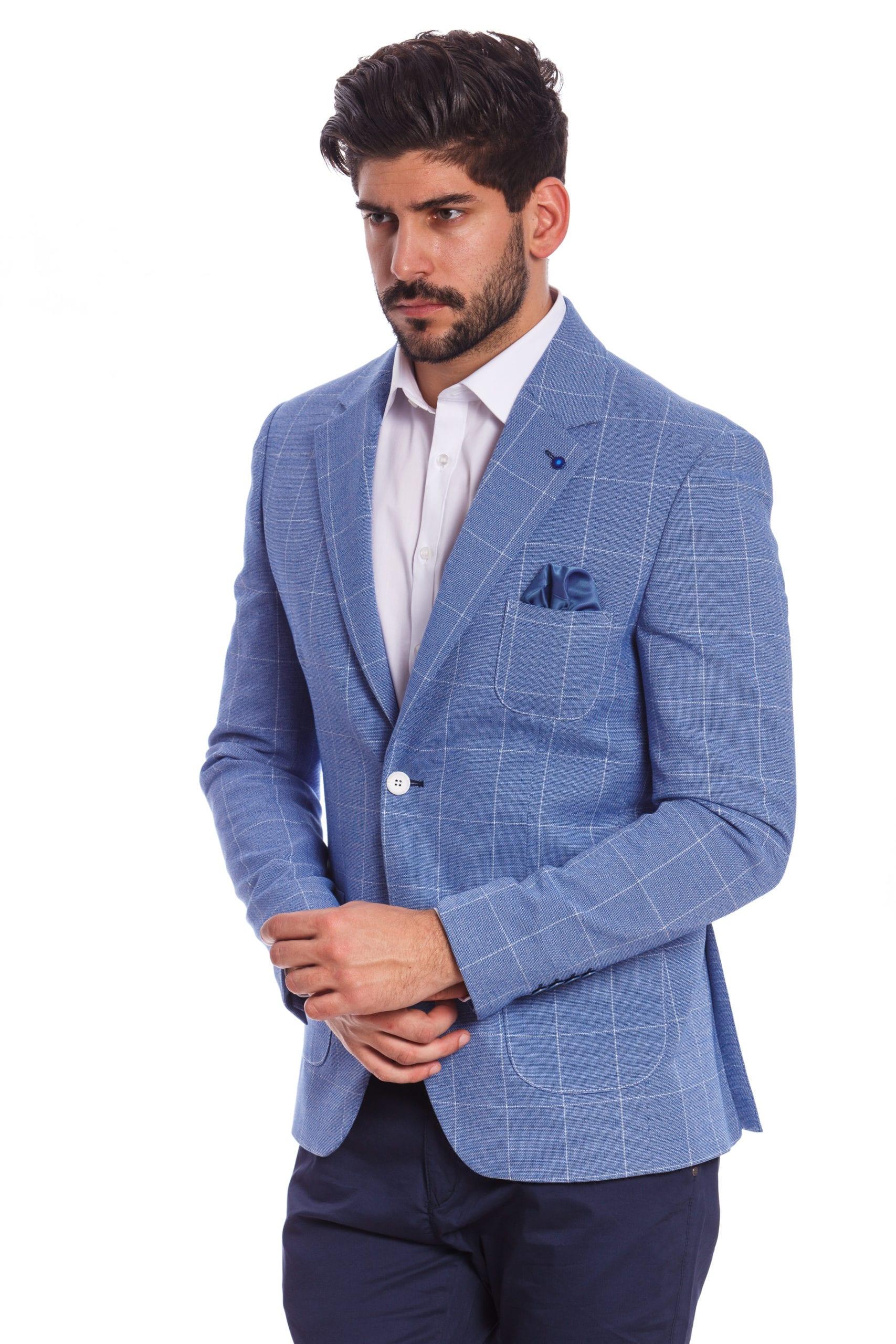 2f9dd1cc90 Bagheria Kék Kockás Slim Fit Sportzakó - Elite Fashion Öltönyház