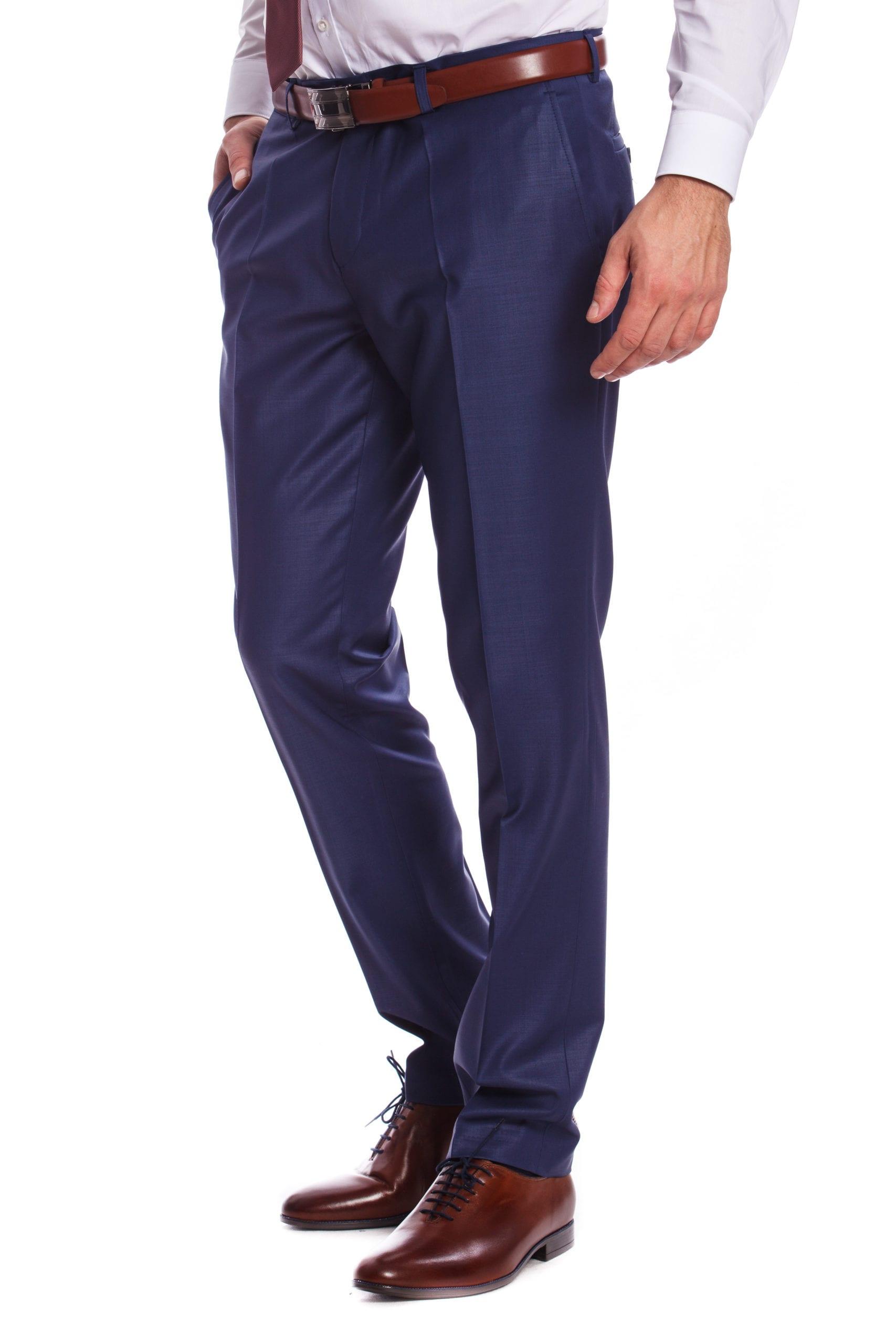 d568b89bc9 Bologna Fényes Középkék Slim Fit Gyapjú Öltönynadrág - Elite Fashion ...