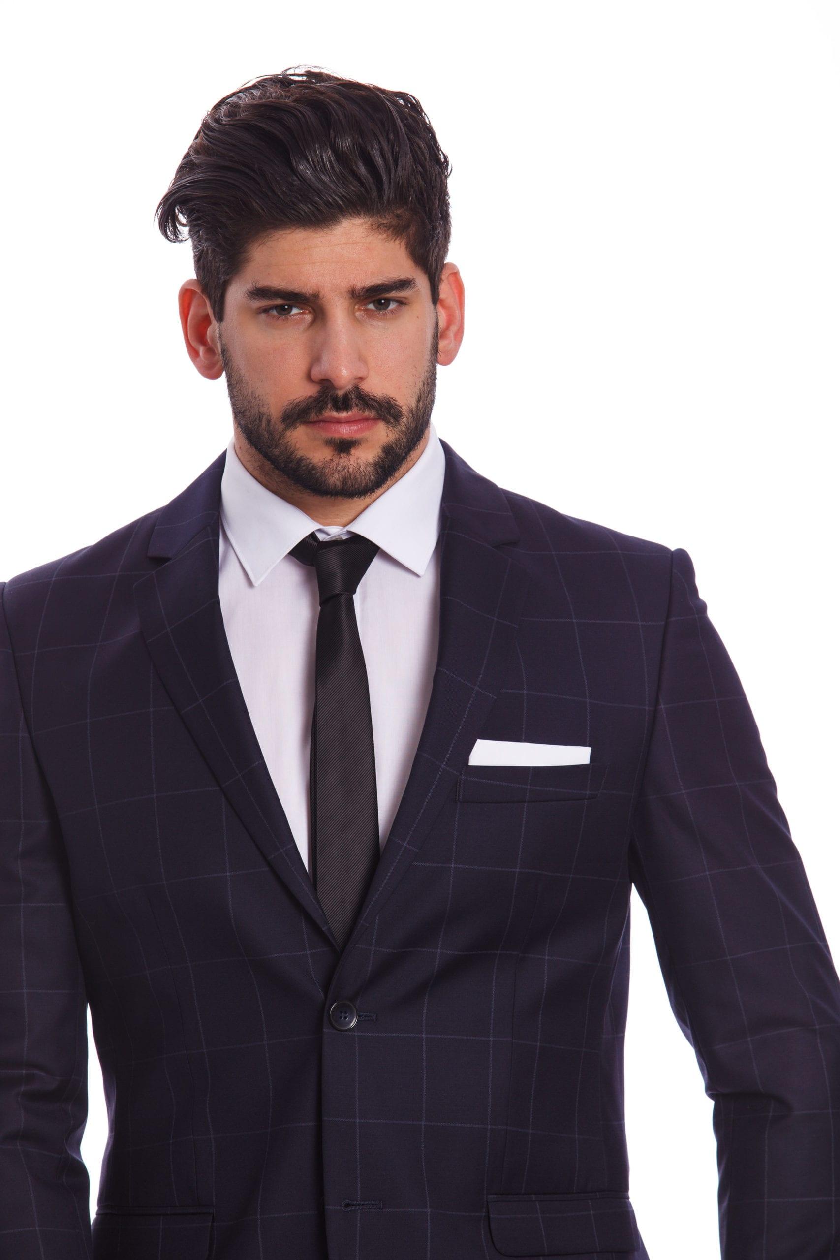 1c4bf6796b Messina Kockás Kék Slim Fit Gyapjú Öltöny - Elite Fashion Öltönyház