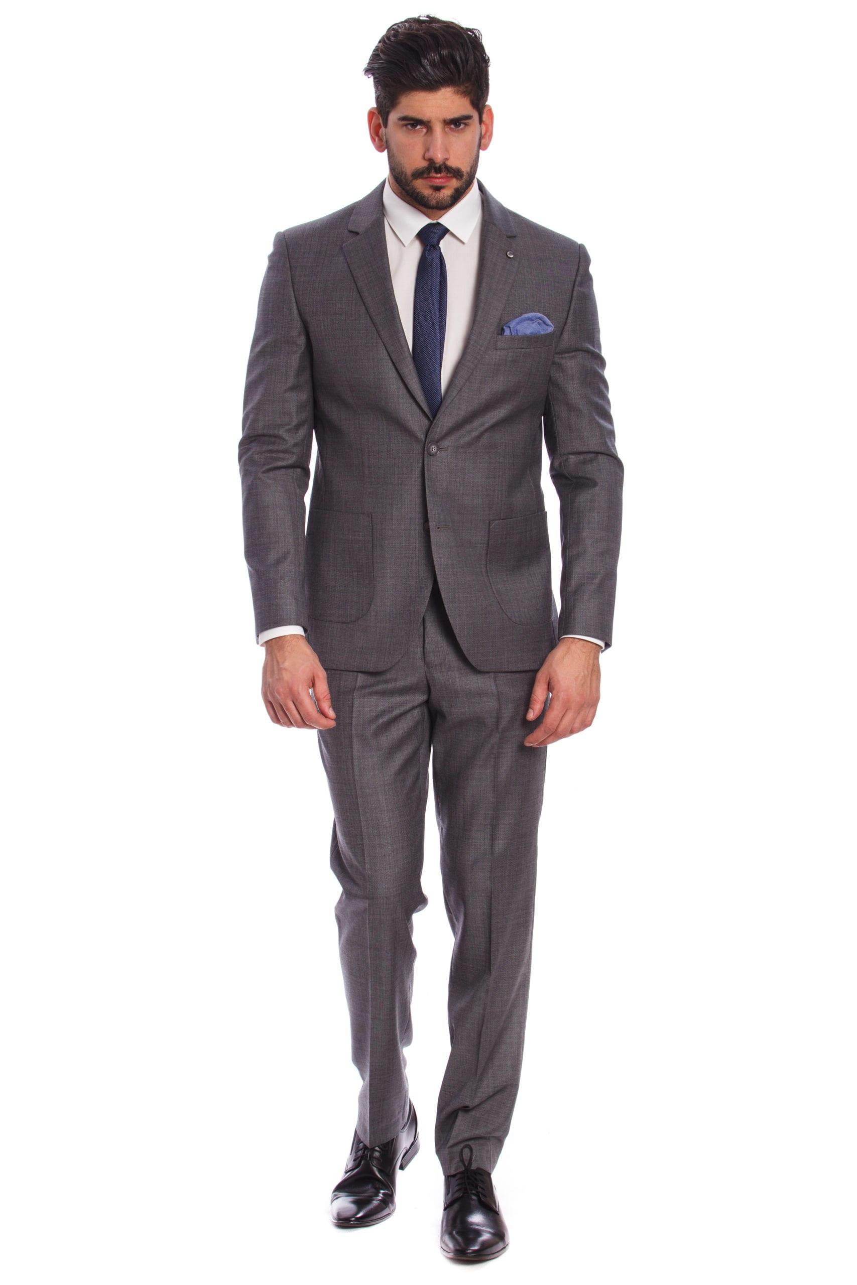 9cb1cc1480 Bergamo Világosszürke Slim Fit Gyapjú Öltöny - Elite Fashion Öltönyház