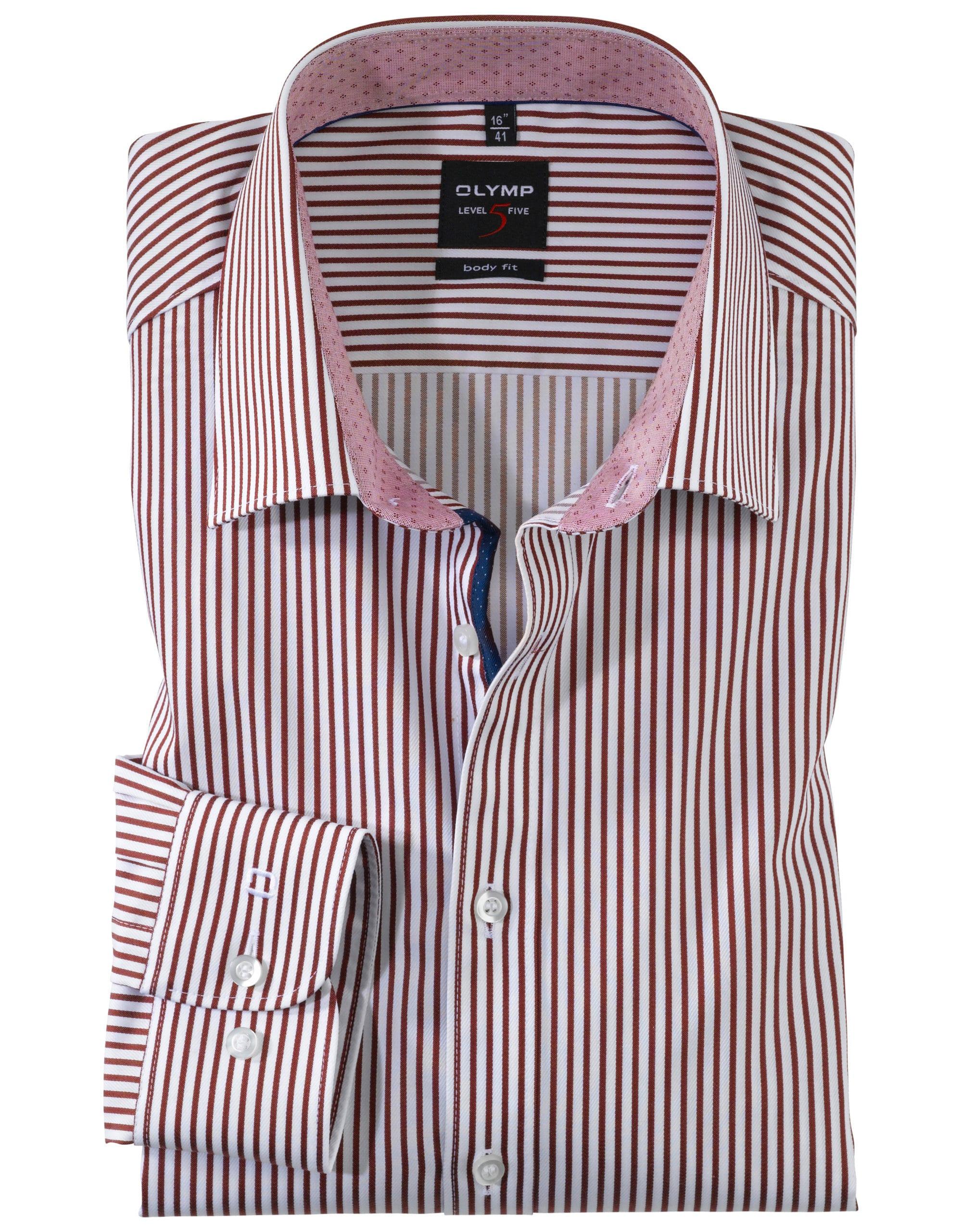 d35ae3d41a OLYMP Level5 Body Fit Piros Fehér Csíkos Ing - Elite Fashion Öltönyház