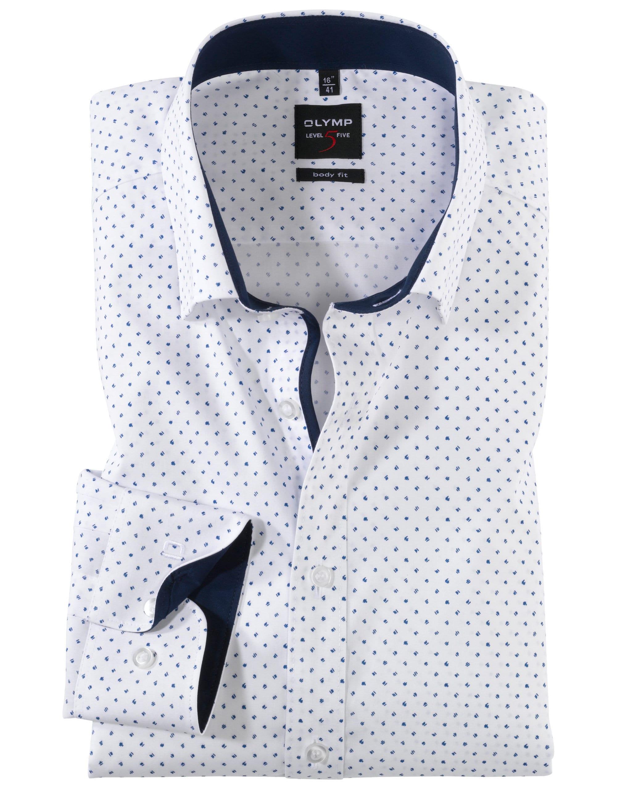 221d9c1801 OLYMP Level5 Body Fit Fehér Kék Mintás Ing - Elite Fashion Öltönyház
