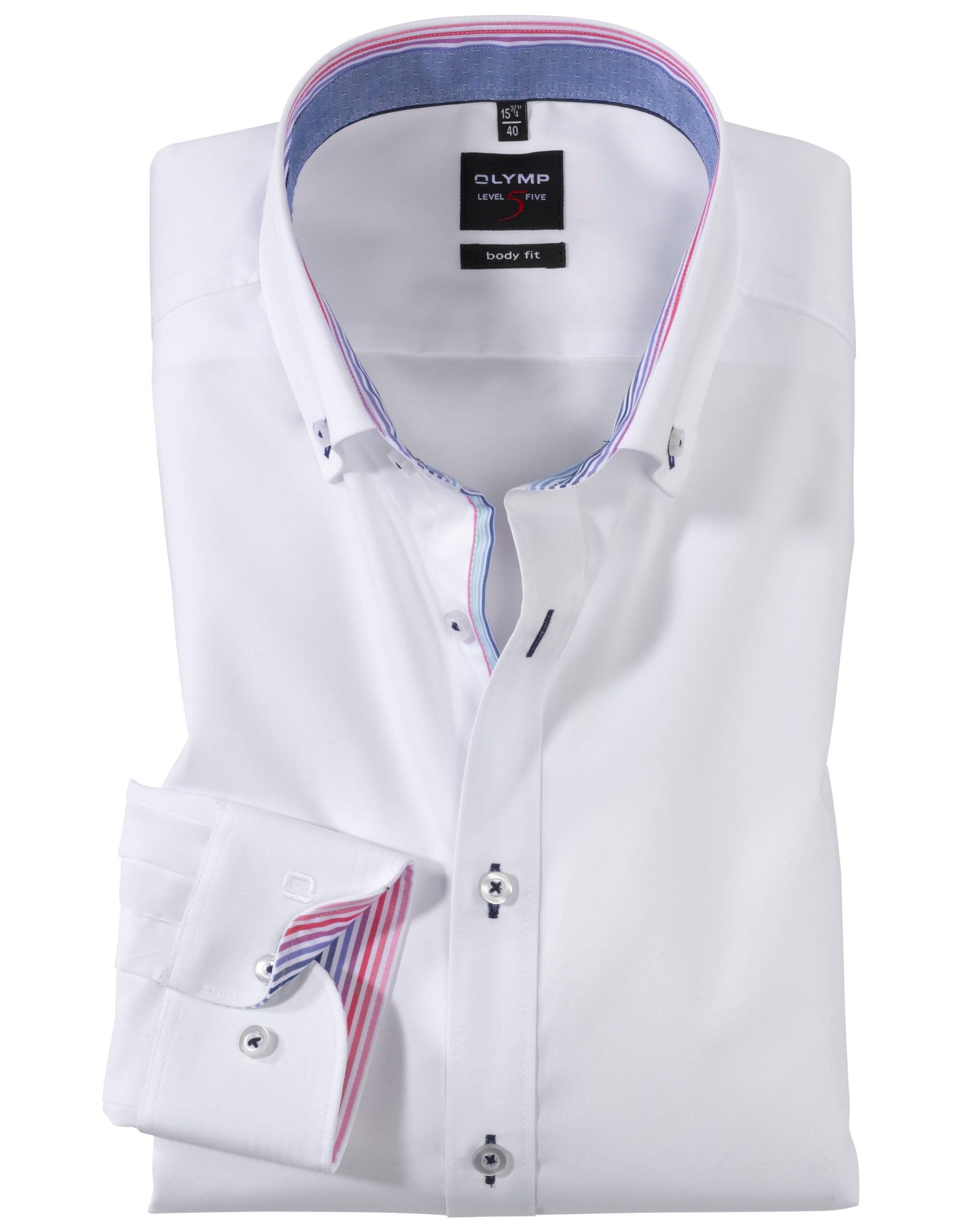 5ac8650566 OLYMP Level5 Body Fit Fehér Kék Ing - Elite Fashion Öltönyház