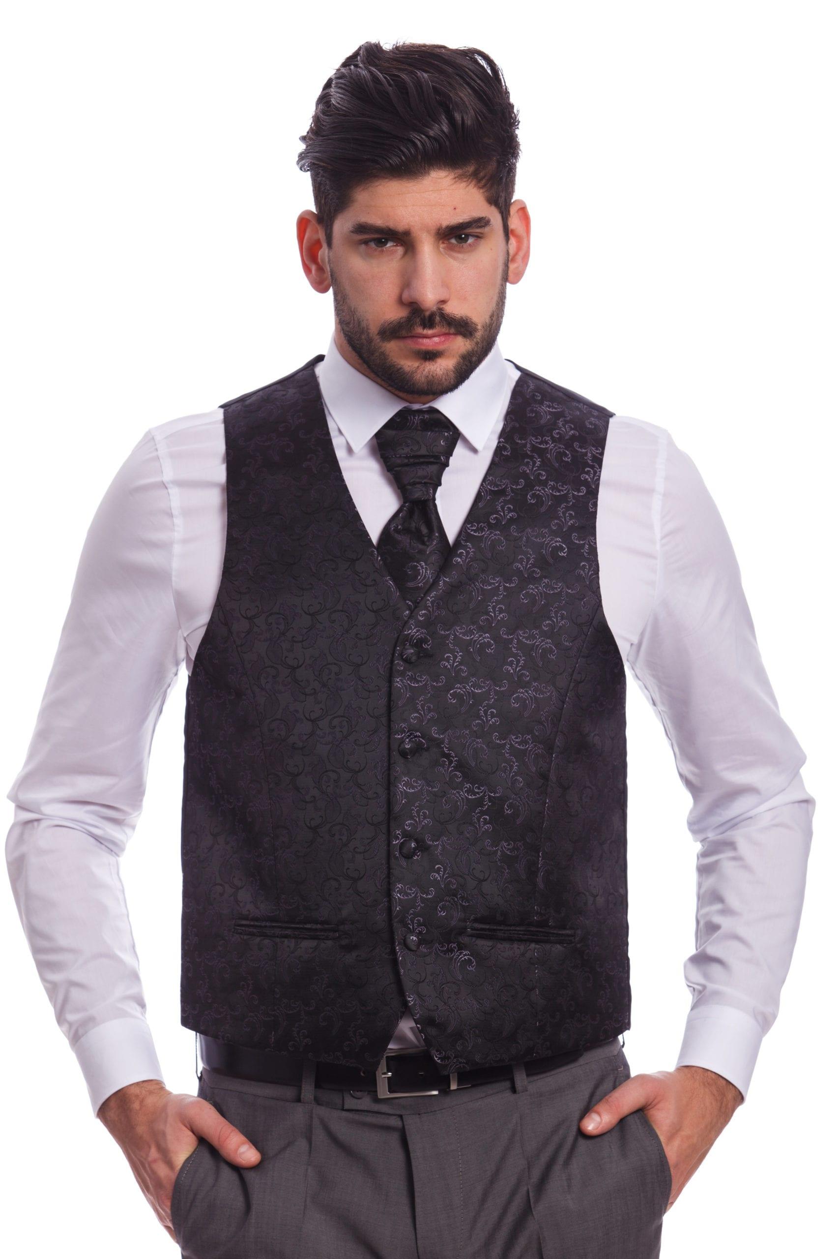 d3e6f060c4 Fekete Mintás Esküvői Mellény Szett - Elite Fashion Öltönyház