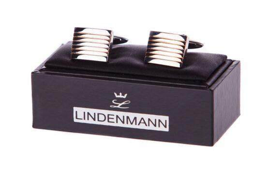 Lindenmann Ezüst-Rose Gold Csíkos Mandzsettagomb