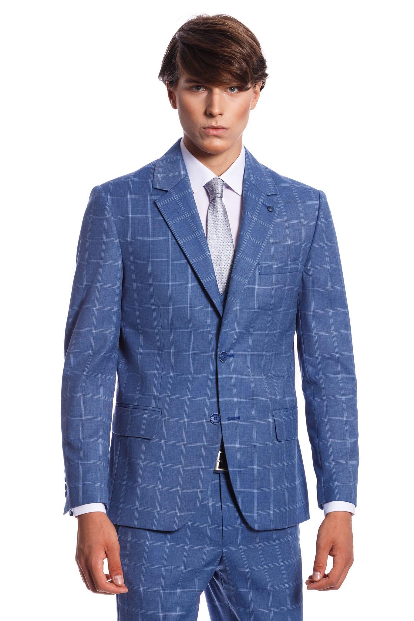 b68556cc05 Lorenzo Kockás-Világoskék Slim Fit Öltöny - Elite Fashion Öltönyház