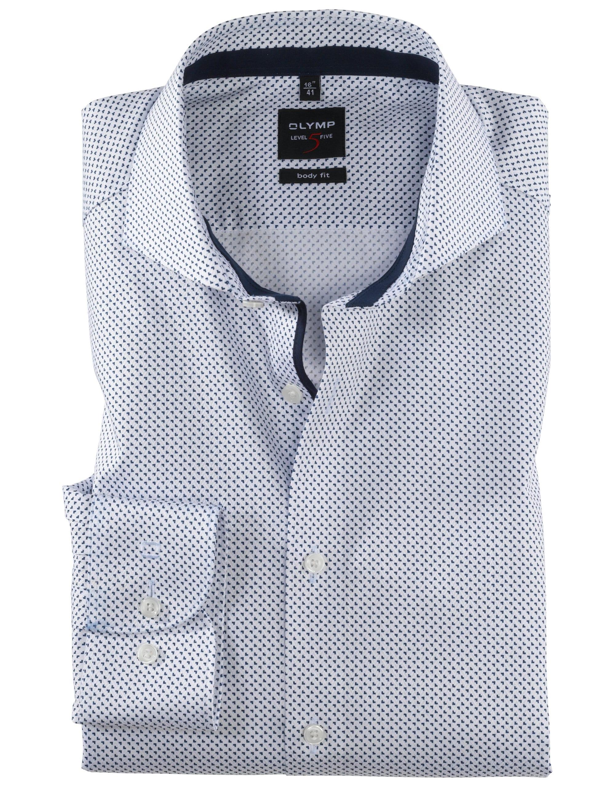 9ccf9ac422 OLYMP Level5 Body Fit Kék Mintás Ing - Elite Fashion Öltönyház