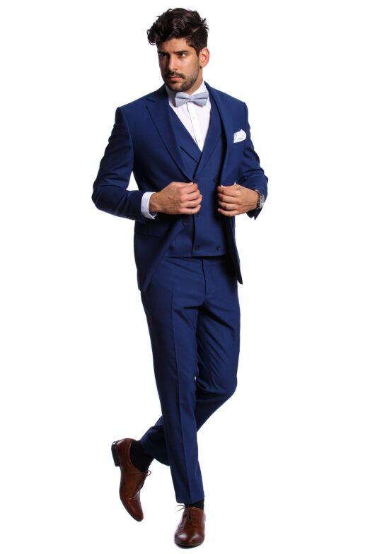Leonardo Kék Slim Fit Háromrészes Öltöny
