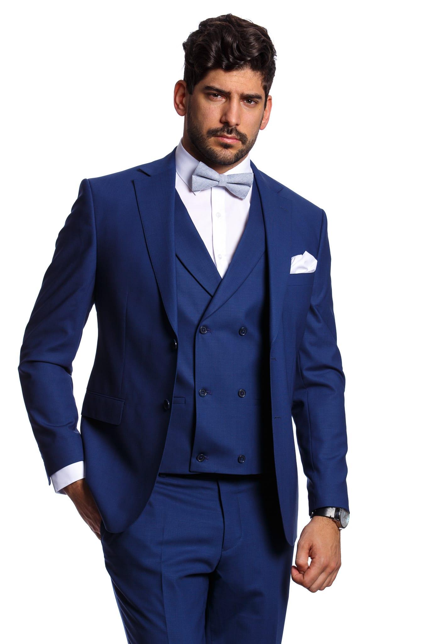 bf2f834436 Leonardo Kék Slim Fit Háromrészes Öltöny - Elite Fashion Öltönyház