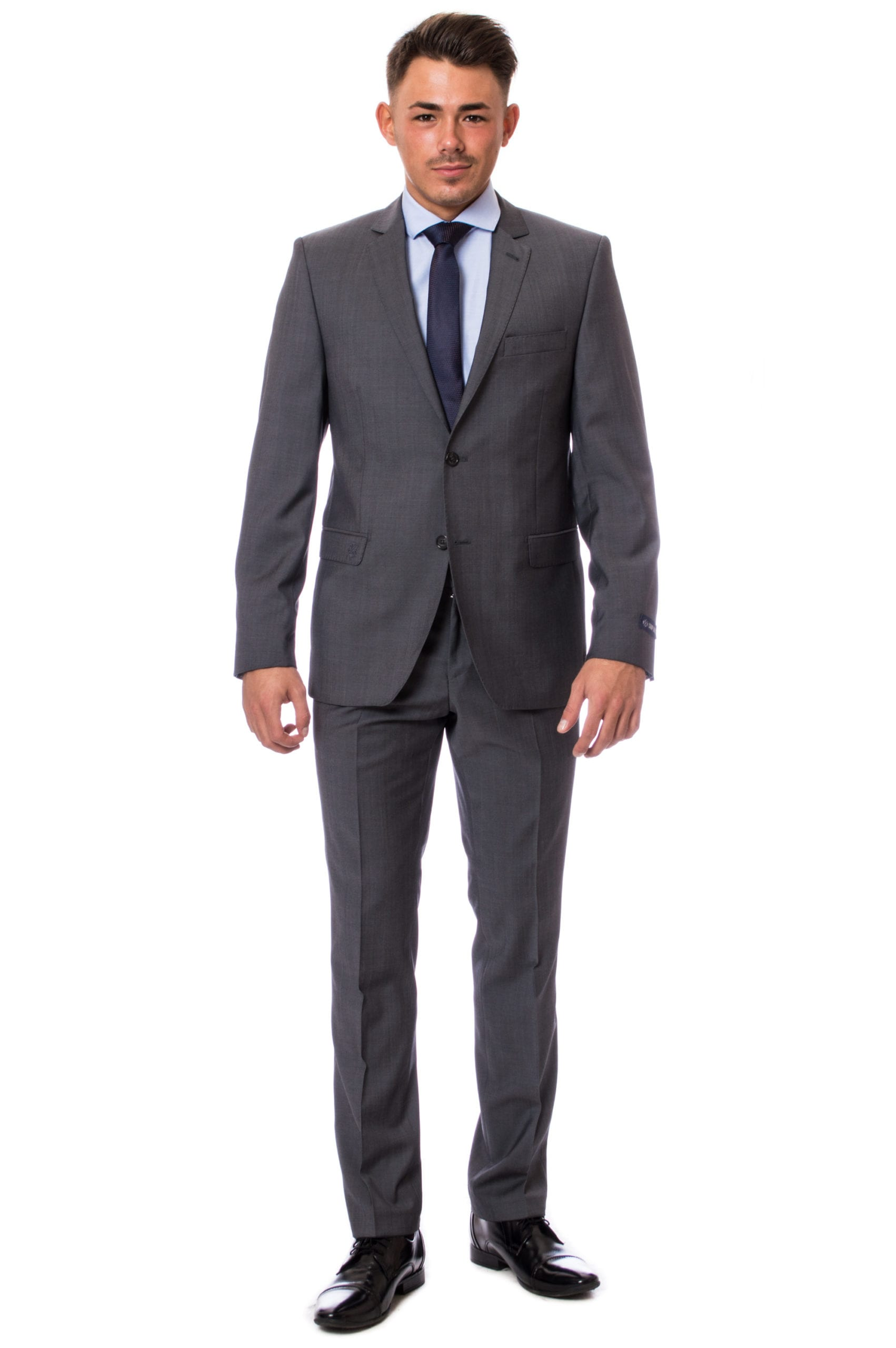 16dd06a5b5 Középszürke Gyapjú Slim Fit Öltöny - Elite Fashion Öltönyház
