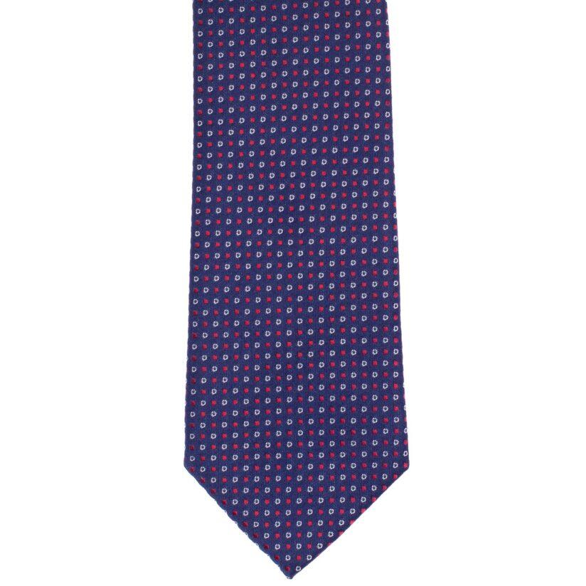 Sötétkék piros-fehér mintás nyakkendő
