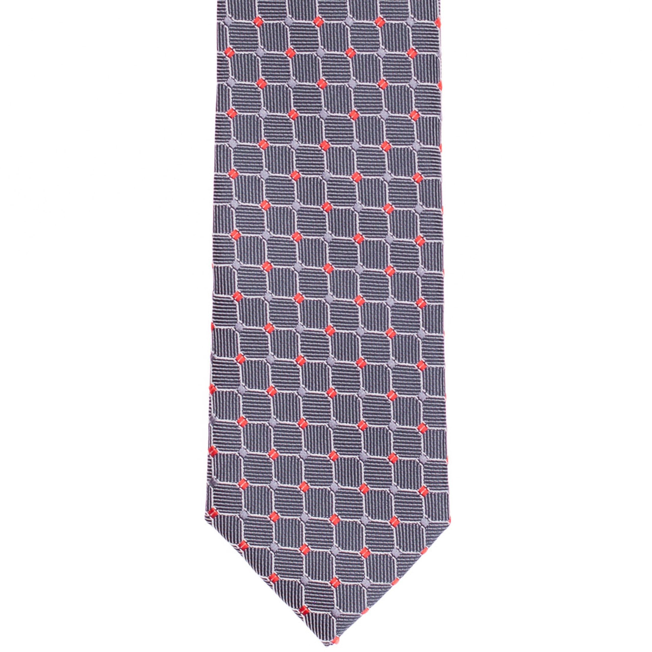 Szürke piros-pöttyös nyakkendő