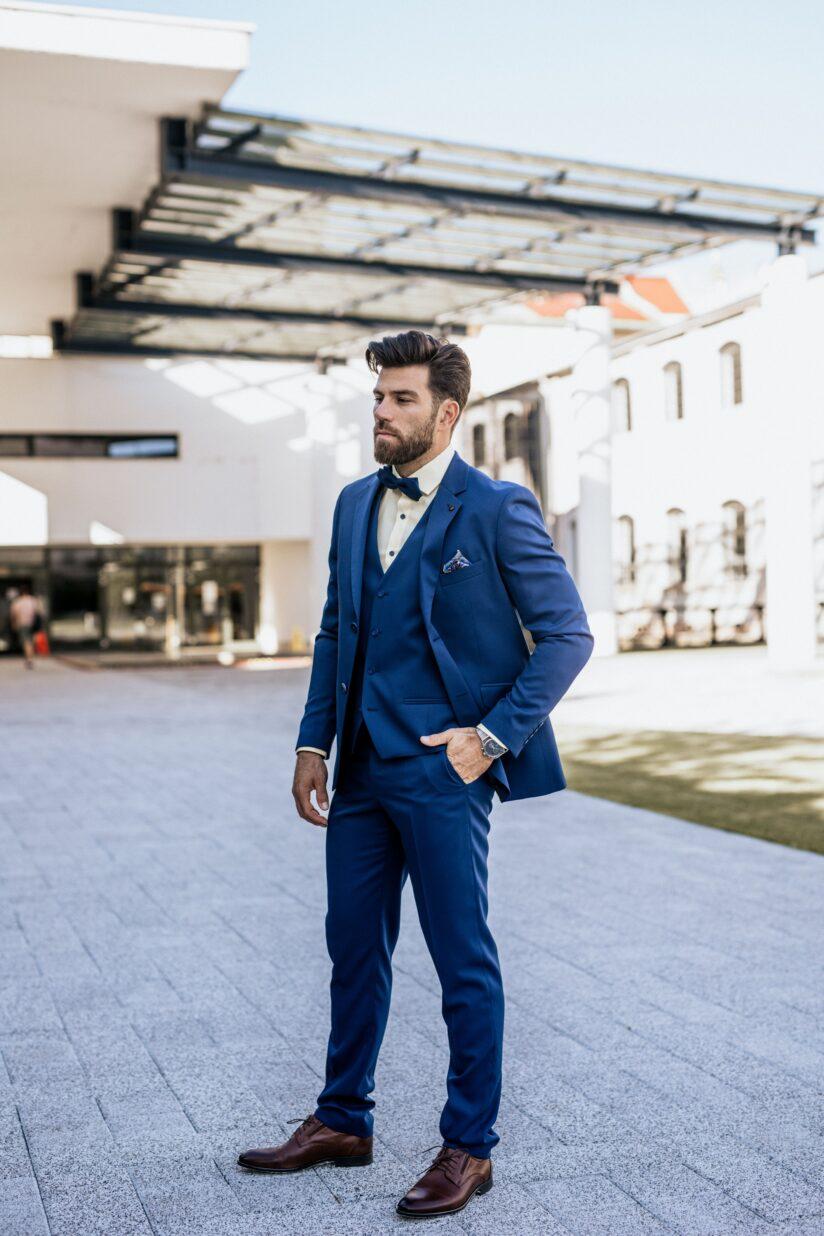 Ralph Redford Kék Slim Fit Mellény